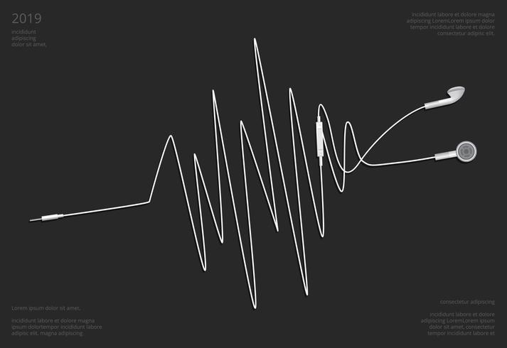 Écouteurs conceptuels avec illustration vectorielle téléphone vecteur
