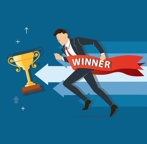 homme d'affaires en cours d'exécution à la réussite avec une bannière gagnante, illustration vectorielle de business concept vecteur