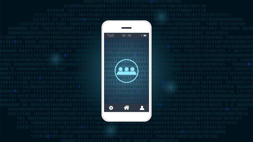 Écran de téléphone intelligent avec réseau mondial et fond de code binaire vecteur