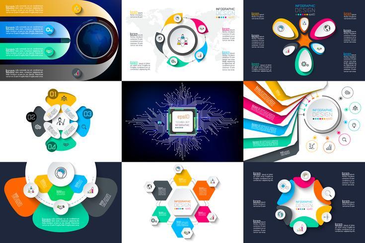 Ensembles de vecteurs de conception infographique utilisés pour la mise en page de flux de travail. vecteur