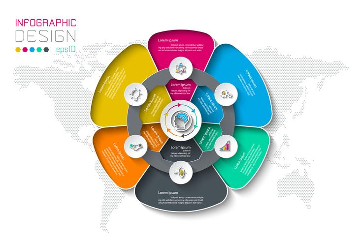 Les étiquettes de cercle d'affaires forment des groupes infographiques. vecteur
