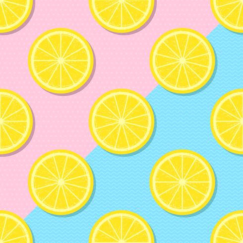 Tranches jaune citron fond d'été vecteur