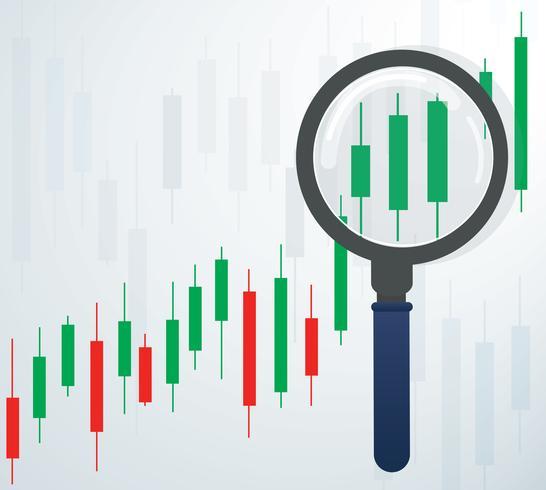 la loupe et bougeoir graphique illustration vectorielle de marché boursier vecteur