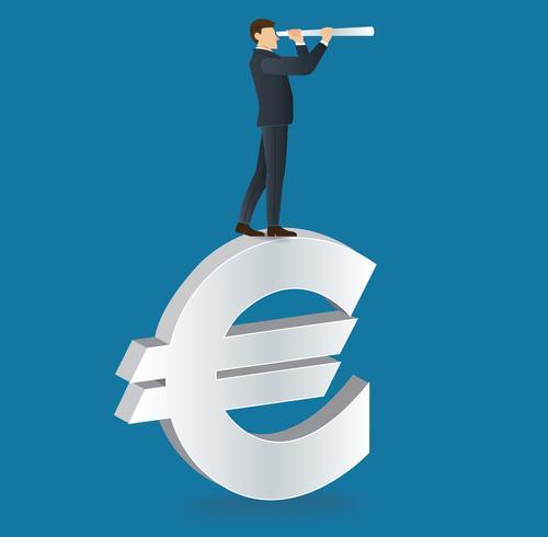 homme d'affaires regarde à travers un télescope permanent sur l'icône de l'euro vecteur