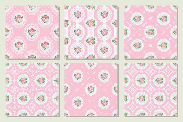 Collection de jeu de fond transparente minable chic rose vecteur