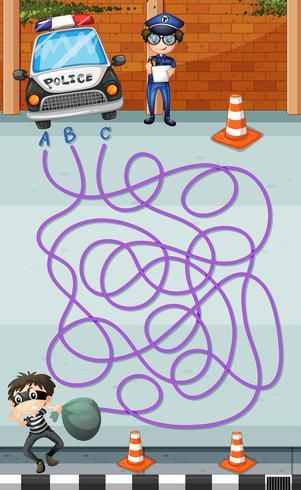 Modèle de jeu avec police et criminel vecteur