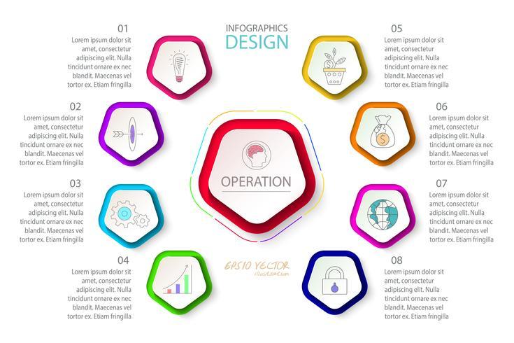 Les pentagones marquent l'infographie en 9 étapes. vecteur