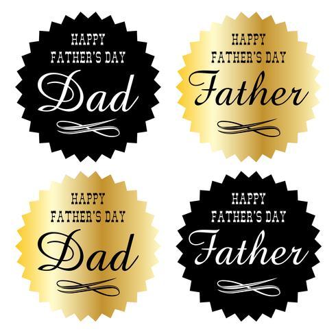 emblèmes graphiques or et noir de la fête des pères vecteur