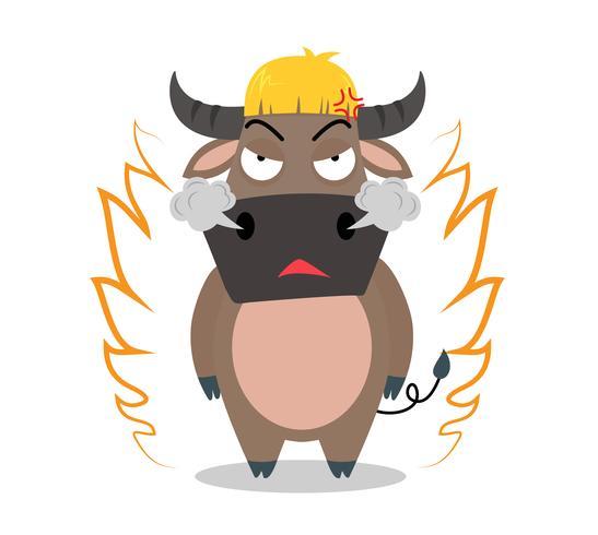 Personnage de dessin animé de buffalo en colère sur fond blanc - illustration vectorielle vecteur