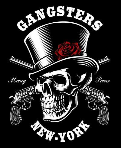 Crâne avec chapeau et des fusils. vecteur