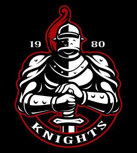 Emblème du chevalier avec l'épée vecteur