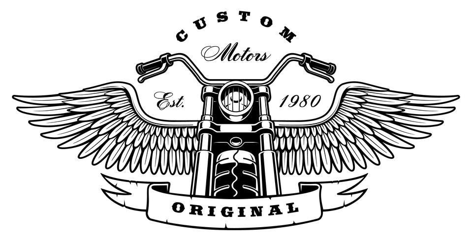 Moto vintage avec des ailes sur fond blanc vecteur