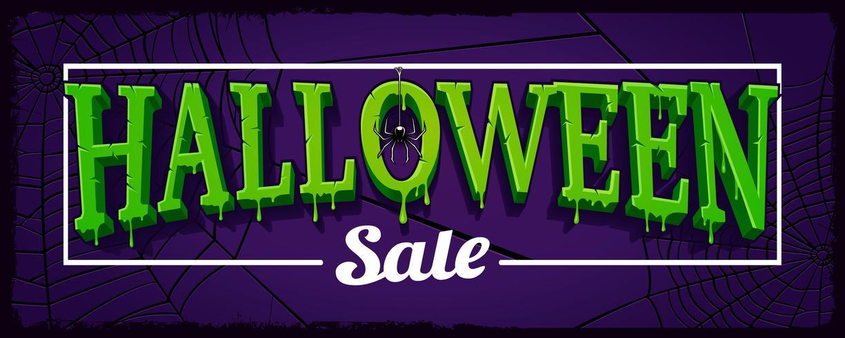 Bannière horizontale de vente Halloween avec la toile d'araignée vecteur