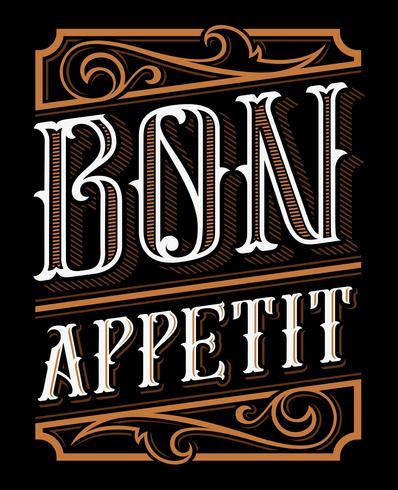 Conception de lettrage de Bon appétit vecteur