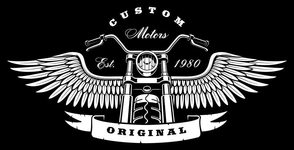 Moto vintage avec des ailes sur fond sombre vecteur