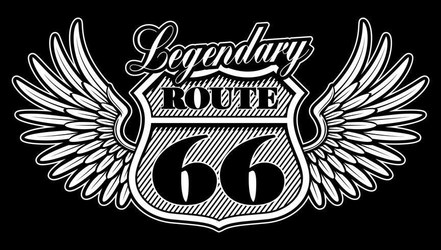 Emblème vintage de la route 66 avec des ailes. vecteur