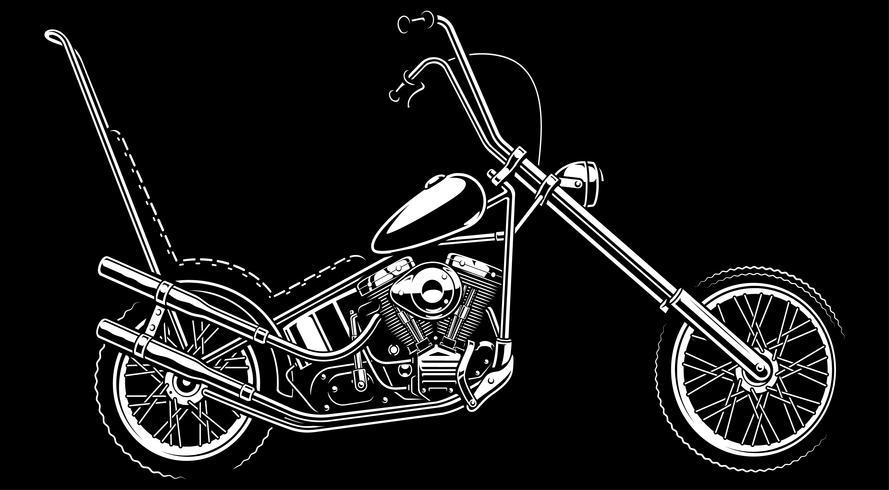 Moto américaine classique sur fond blanc vecteur