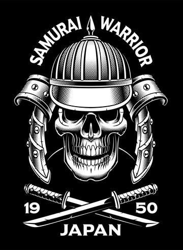 Crâne de samouraï avec katana vecteur