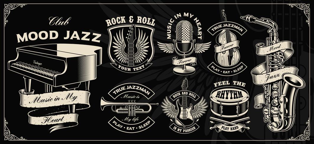 Sertie de dessin vectoriel vintage d'instruments de musique.