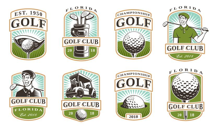 Ensemble de vecteurs de golf (12 logos) vecteur