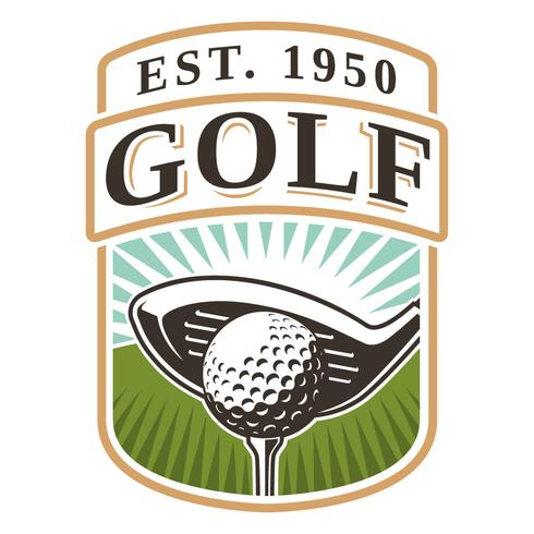 Emblème avec club de golf et balle vecteur