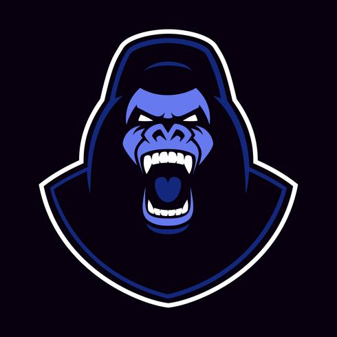 Emblème de vecteur d'une mascotte de gorille