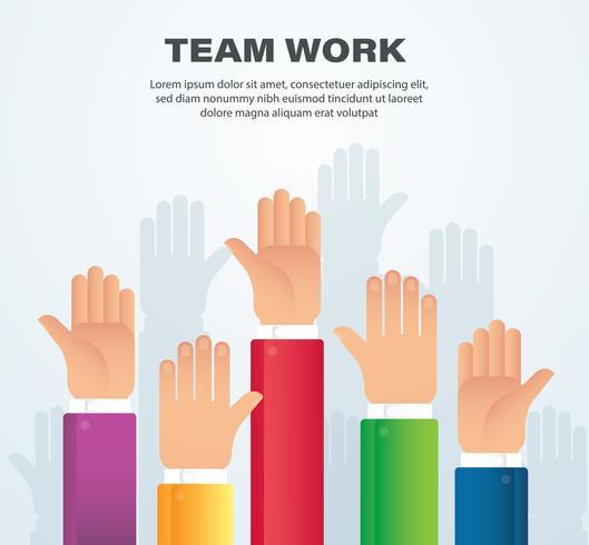 Mains levées. concept de travail d'équipe. Contexte vecteur