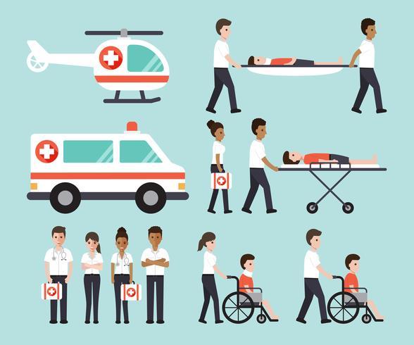 Groupe de médecins, infirmières, ambulanciers paramédicaux et personnel médical. vecteur
