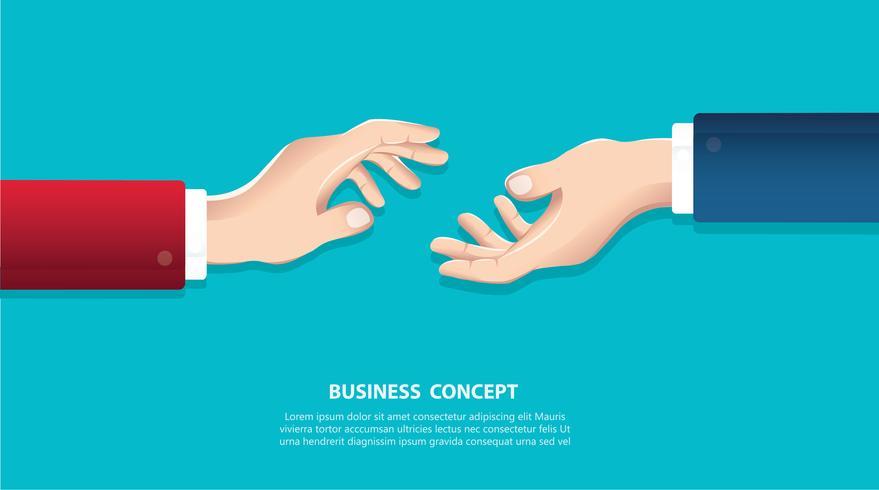 Poignée de main. Hommes d'affaires se serrant la main sur un fond d'horizon. Concept commercial vecteur