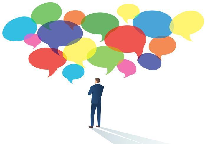 Hommes d'affaires avec illustration vectorielle de discussion chat d'un concept de communication vecteur