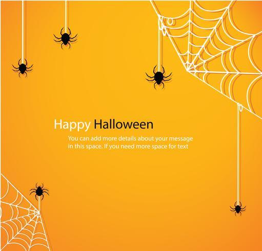 Halloween avec fond jaune toile d'araignée vecteur