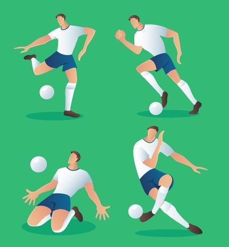 jeu de personnages de football action, illustration vectorielle de joueur de football vecteur