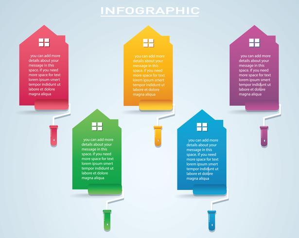 maison colorée avec un rouleau à peinture infographie 4 options fond illustration vectorielle vecteur