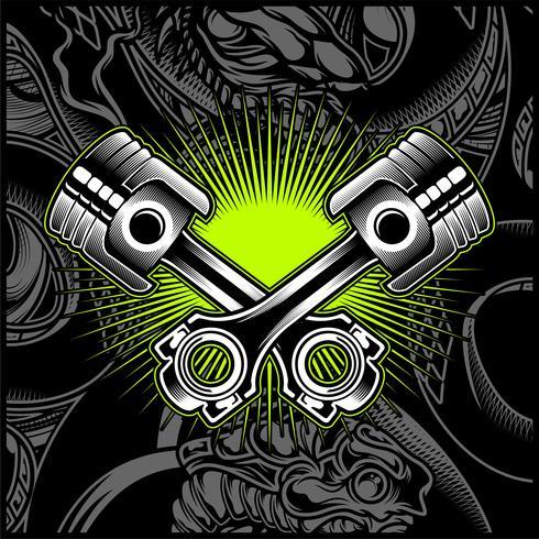 Emblème noir et blanc de piston de moto de croix, logos, insigne - vecteur