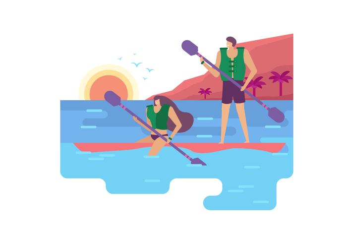 Activité d'été à la plage Vector Illustration plate