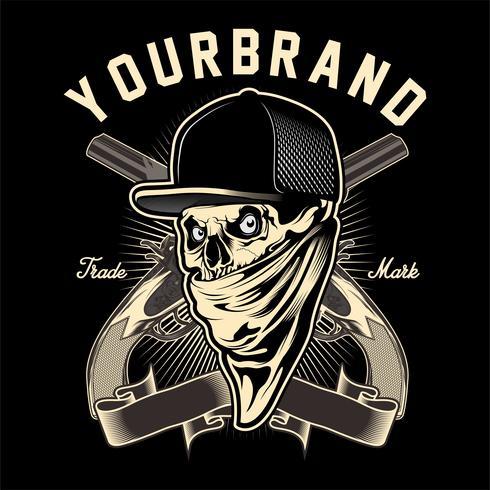 mafia de crâne avec vecteur de dessin main pistolet