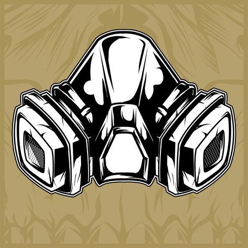 masque à gaz main dessin vectoriel