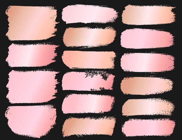 Série de coups de pinceau, coups de pinceau grunge en or rose. Illustration vectorielle vecteur
