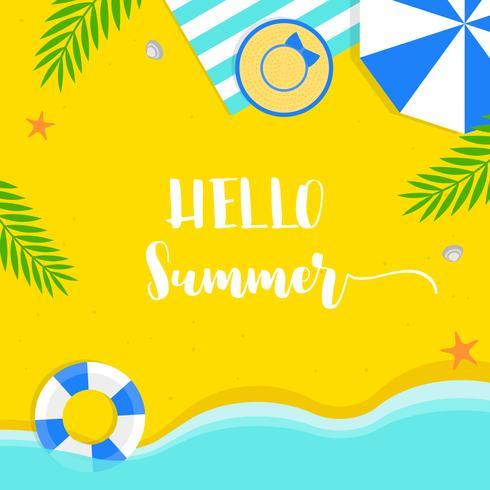 Heure d'été, illustration vectorielle de fond été plage vecteur