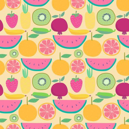 Modèle sans couture avec fond de fruits. Illustrations vectorielles pour la conception d'emballages cadeaux. vecteur