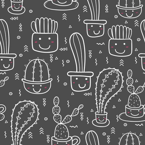 Impression de fond mignon cactus sans soudure. Illustrations vectorielles pour la conception d'emballages cadeaux. vecteur