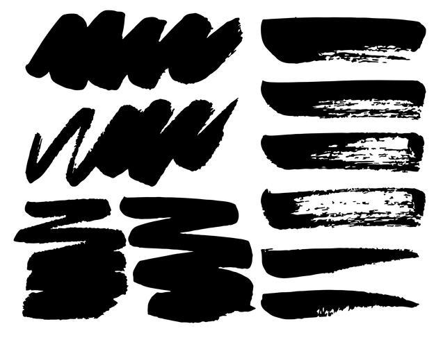 Série de coups de pinceau, coups de pinceau grunge d'encre noire. Illustration vectorielle vecteur