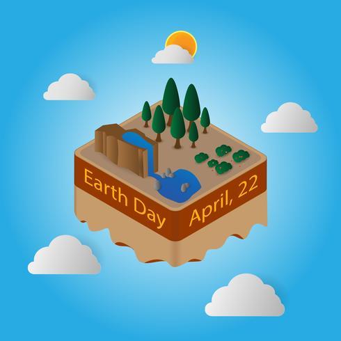 Journée mondiale de la Terre 22 avril Île flottante vecteur