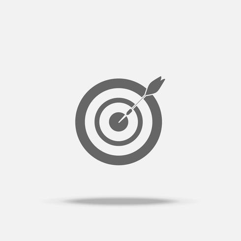 Jeu de fléchettes et flèche dans l'icône de vecteur de design plat moyen avec shadow, signe de l'entreprise, cible