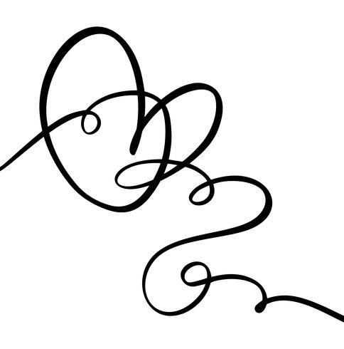 Signe d'amour coeur dessiné à la main. Vecteur de calligraphie romantique de la Saint-Valentin. Symbole d'icône Concepn pour t-shirt, carte de voeux, mariage affiche. Illustration d'élément plat design