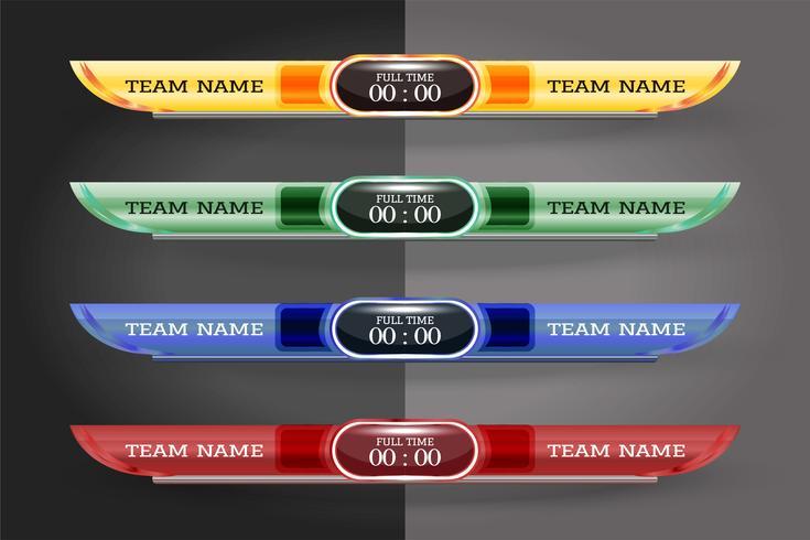 Tableau graphique modèle d'écran numérique pour la diffusion de football, football ou futsal, modèle de conception illustration vectorielle pour match de la ligue de football. Conception de fichiers vectoriels EPS10 vecteur