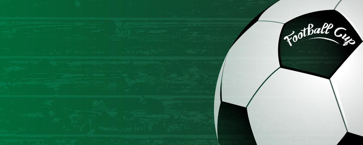 Fond de coupe de football. Ballon classique sur fond de champ vert grunge. Concept d'événement de compétition nationale de sport et de football. Thème abstrait et papier peint. Illustration vectorielle vecteur