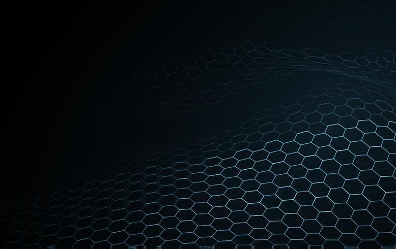 Technologie de blockchain de surface d'onde bleue et science abstrait. Égaliseur de musique de motif de texture illumination cadre réseau fil hexagonal. Nouvelle technologie de particules numérique concept de papier peint vecteur