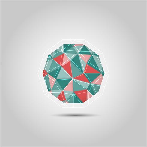 Icône de vecteur forme polygone sphère rouge et verte