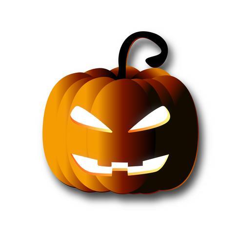 Art de papier citrouille Halloween sur fond blanc isolé. Lanterne citrouille orange avec filet de dégradé d'ombre vecteur